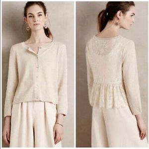 Anthropologie Knitted & Knotted Gold Lace Cardigan